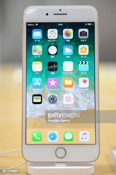 New iPhone 8 plus model is displayed at a telecom shop in Omotesando Avenue in Tokyo Japan on September 22 2017 Apple sales its new iPhone models...