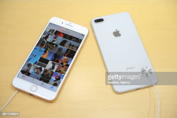 New iPhone 8 plus models are displayed at a telecom shop in Omotesando Avenue in Tokyo Japan on September 22 2017 Apple sales its new iPhone models...