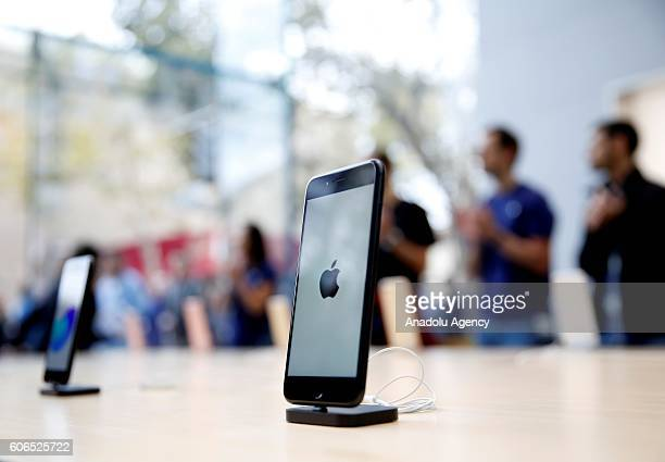 New iPhone models are seen on display at the Apple store in Palo Alto California United States on September 16 2016