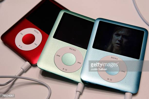 New iPod Nano's are seen on display at an Apple Special event September 5 2007 in San Francisco California Apple CEO Steve Jobs announced a new...