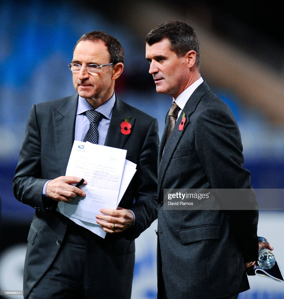 New Ireland Manager Martin O'Neill and his assistant Roy Keane look on prior to the UEFA Champions League Group A match between Real Sociedad de...