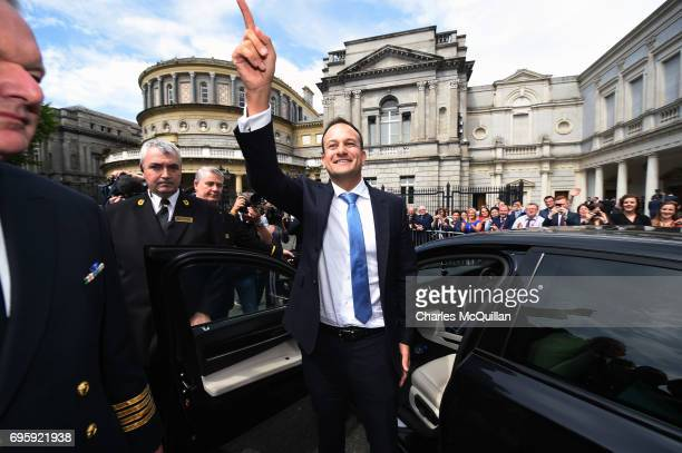 New Irish Taoiseach Leo Varadkar waves to TD's and well wishers at Leinster House after being elected as Taoiseach on June 14 2017 in Dublin Ireland...