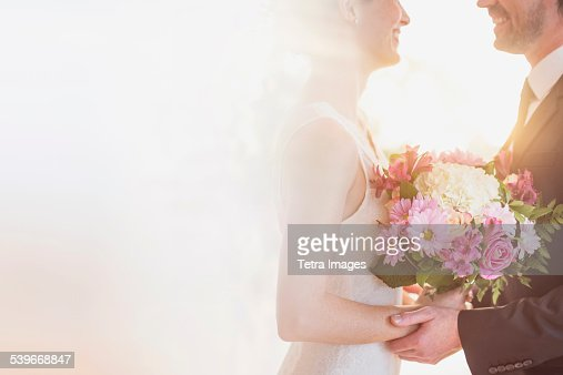 USA, New Jersey, Bride and groom celebrating their wedding