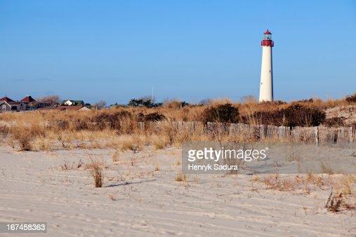 USA, New Jersey, Cape May, Lighthouse on beach : Stock Photo