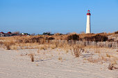 USA, New Jersey, Cape May, Lighthouse on beach