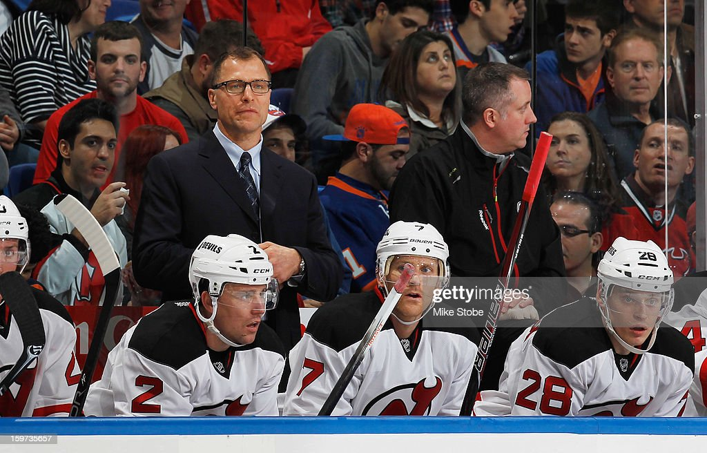 New Jersey Devils Assistant Coach Scott Stevens looks on during the game against the New York Islanders at Nassau Veterans Memorial Coliseum on January 19, 2013 in Uniondale, New York.