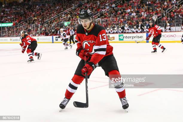 New Jersey Devils center Nico Hischier during the National Hockey League Game between the New Jersey Devils and the Arizona Coyotes on October 28 at...