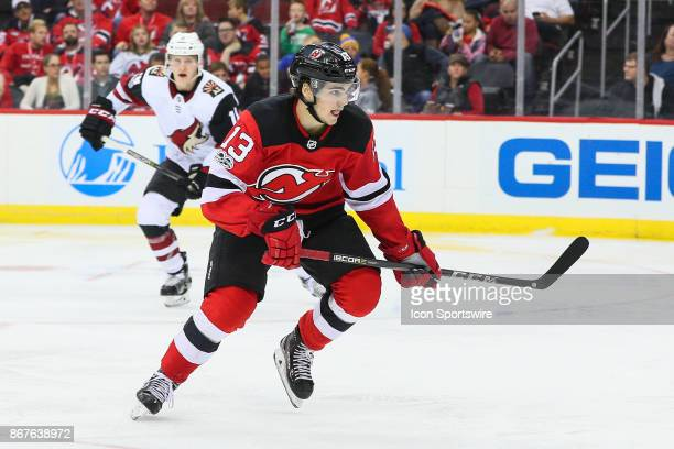 New Jersey Devils center Nico Hischier skates during the third period of the National Hockey League Game between the New Jersey Devils and the...