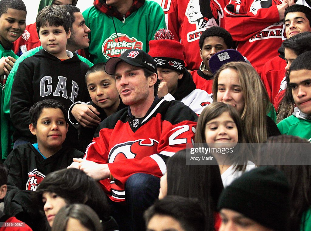 New Jersey Devils' David Clarkson poses for a photo during the Hockey in Newark instructional clinic on February 13, 2013 in Newark, New Jersey.