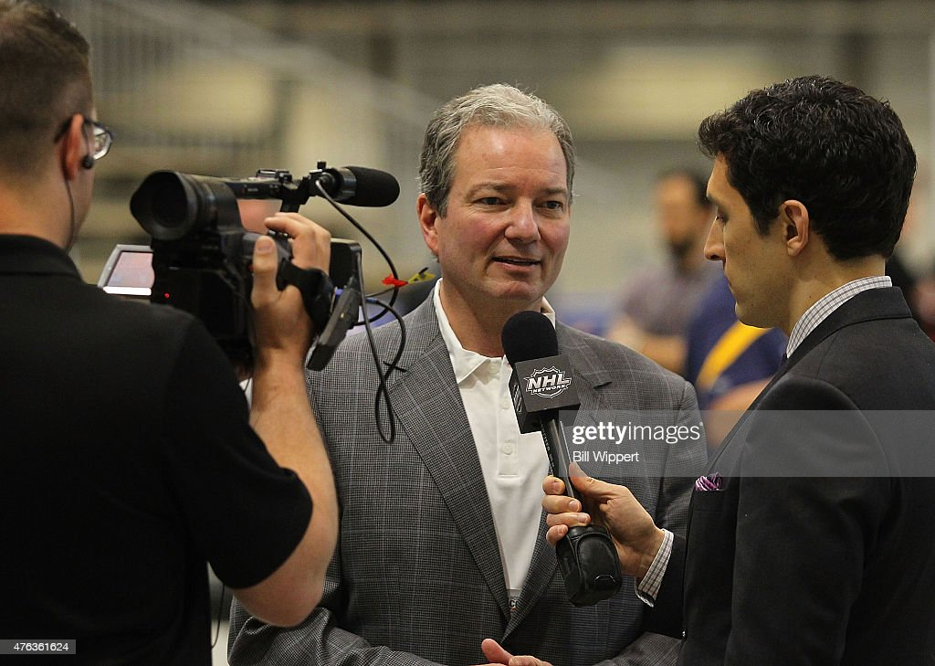 New Jersey Devils general manager Ray Shero speaks with the NHL Network during the NHL Combine at HarborCenter on June 6, 2015 in Buffalo, New York.