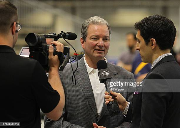 New Jersey Devils general manager Ray Shero speaks with the NHL Network during the NHL Combine at HarborCenter on June 6 2015 in Buffalo New York