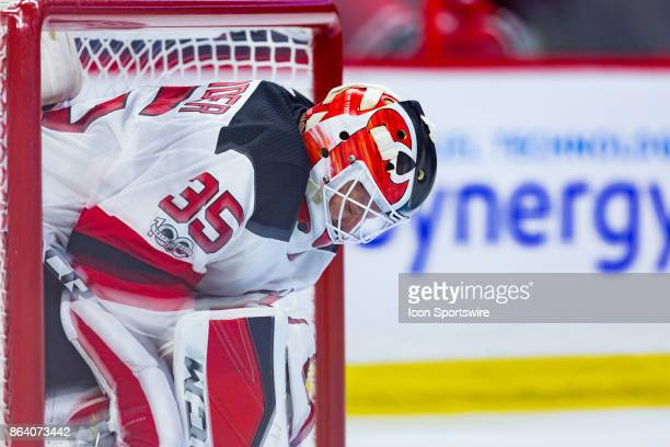 New Jersey Devils Goalie Cory Schneider takes a moment to focus himself as there is a stoppage in play during second period National Hockey League...
