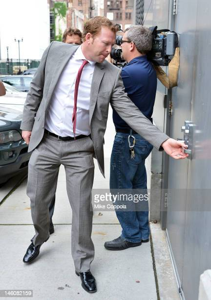 New Jersey Devils goaltender Martin Brodeur arrives at the Los Angeles Kings vs the New Jersey Devils game five during the 2012 Stanley Cup final at...