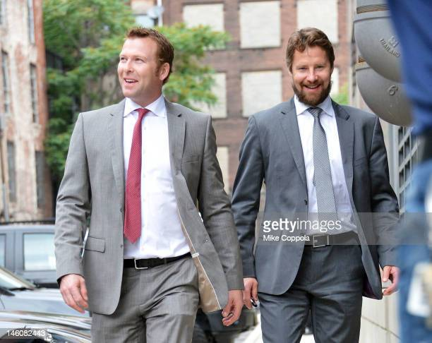 New Jersey Devils goaltendesr Martin Brodeur and Johan Hedberg arrive at the Los Angeles Kings vs the New Jersey Devils game five during the 2012...