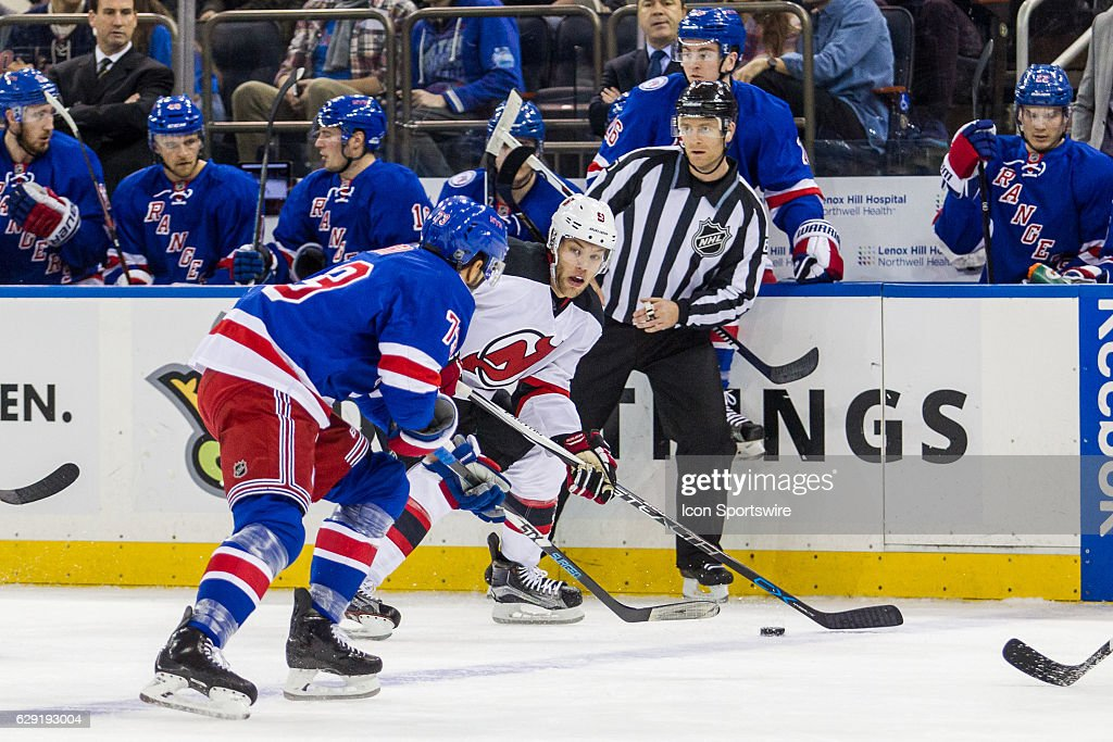 ... New Jersey Devils Left Wing Taylor Hall (9) brings the puck into the  Rangers ... 9472cf9b9