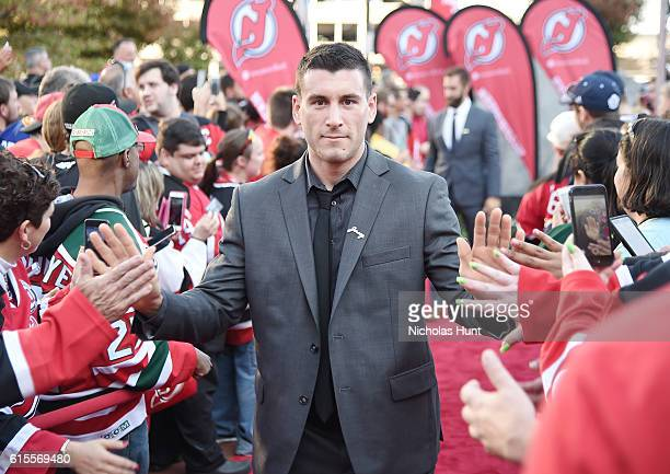 New Jersey Devils Player Yohann Auvitu attends Anaheim Ducks Vs New Jersey Devils opening rally October 18 2016 at Prudential Center on October 18...