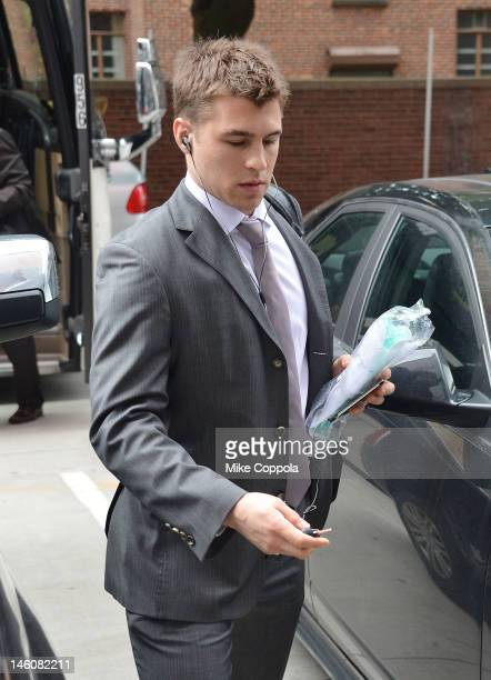 New Jersey Devils player Zach Parise arrives at the Los Angeles Kings vs the New Jersey Devils game five during the 2012 Stanley Cup final at the...