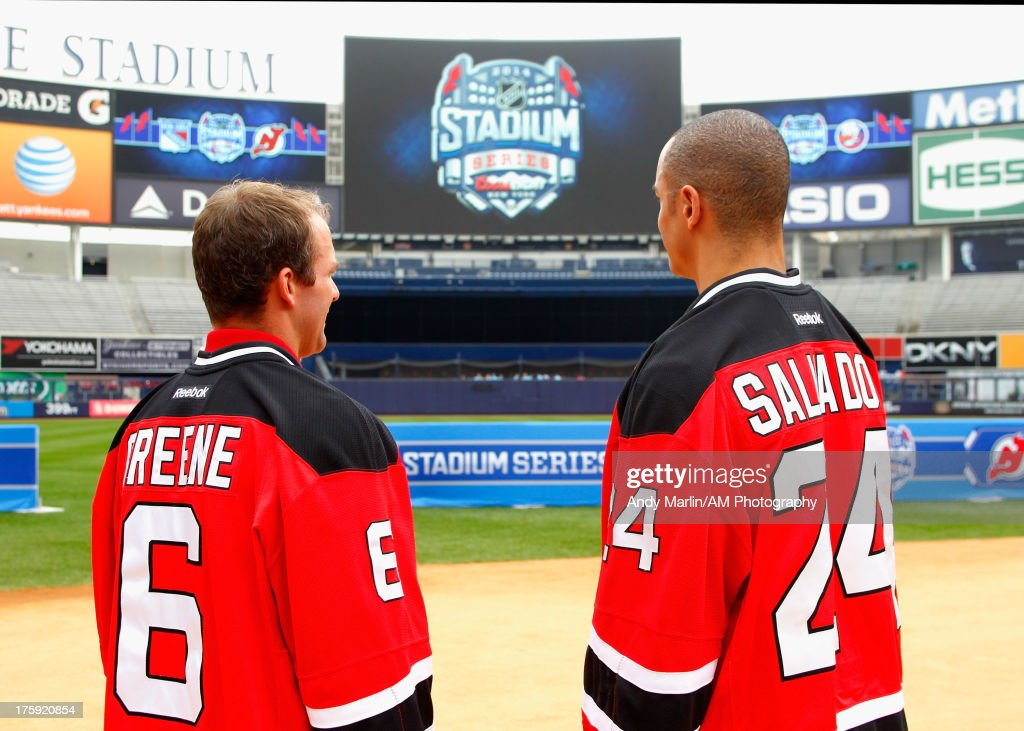 New Jersey Devils players <a gi-track='captionPersonalityLinkClicked' href=/galleries/search?phrase=Andy+Greene&family=editorial&specificpeople=3568726 ng-click='$event.stopPropagation()'>Andy Greene</a> (L) and <a gi-track='captionPersonalityLinkClicked' href=/galleries/search?phrase=Bryce+Salvador&family=editorial&specificpeople=208746 ng-click='$event.stopPropagation()'>Bryce Salvador</a> pose for a photo during the 2014 NHL Stadium Series Media Availabilty at Yankee Stadium on August 8, 2013 in New York City.