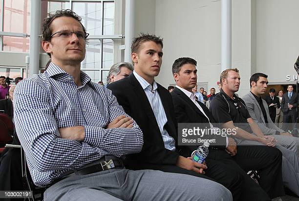 New Jersey Devils players Patrik Elias Zach Parise Jamie Langenbrunner Martin Brodeur and PierreLuc LetourneauLeblond show up for a media opportunity...