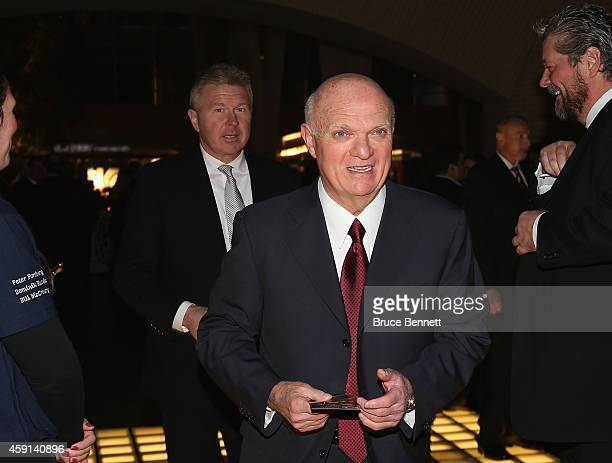 New Jersey Devils president and general manager Lou Lamoriello walks the red carpet prior to the induction ceremony at the Hockey Hall of Fame on...