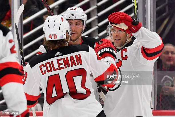 New Jersey Devils right wing Stefan Noesen New Jersey Devils defenseman Andy Greene and New Jersey Devils center Blake Coleman celebrate after the...