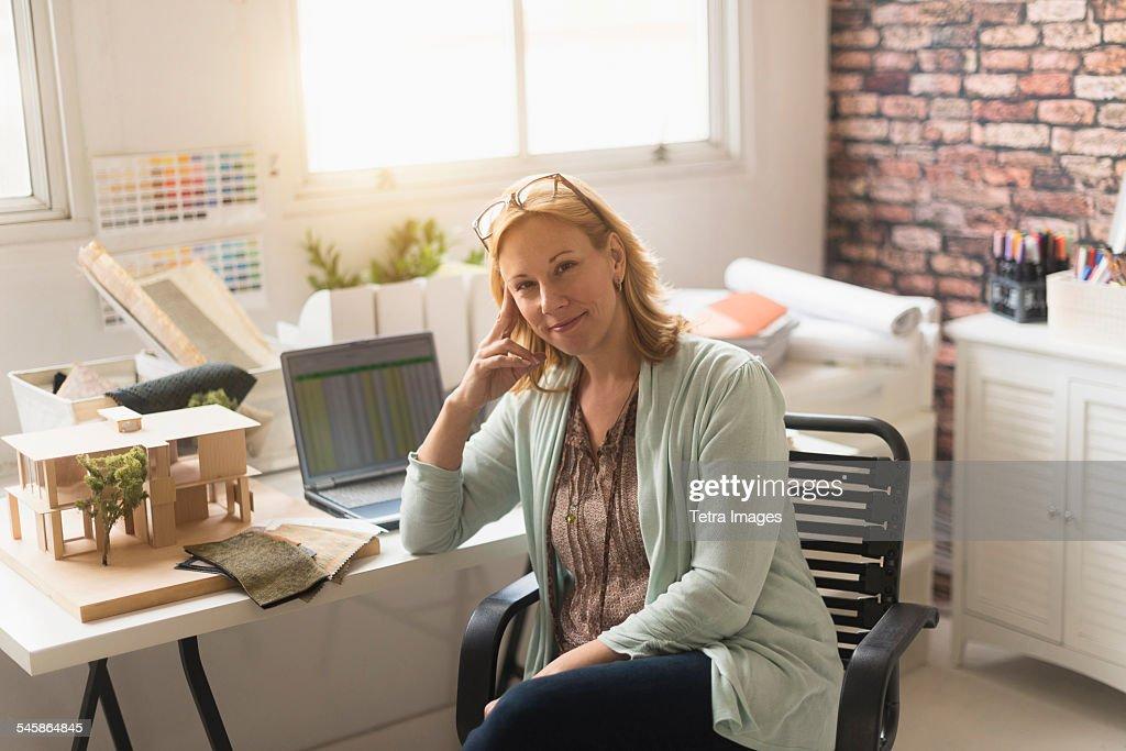 Usa New Jersey Female Interior Designer At Work Stock Photo