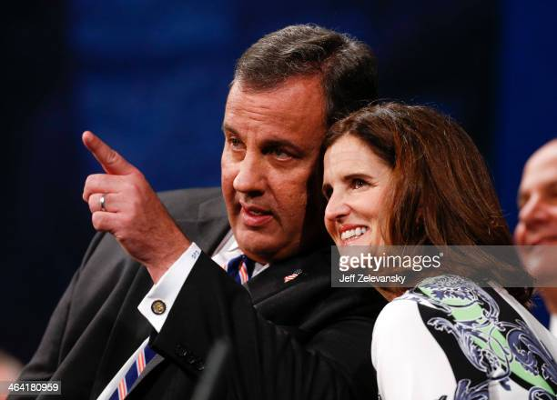New Jersey Gov Chris Christie and wife Mary Pat look at the crowd after he was sworn in for his second term on January 21 2014 at the War Memorial in...