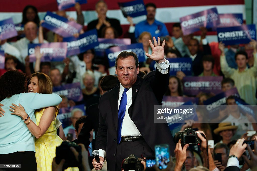 New Jersey Gov. <a gi-track='captionPersonalityLinkClicked' href=/galleries/search?phrase=Chris+Christie&family=editorial&specificpeople=6480114 ng-click='$event.stopPropagation()'>Chris Christie</a> announces his candidacy for the Republican presidential nomination at Livingston High School on June 30, 2015 in Livingston Twp., New Jersey. Christie made the announcement in the gymnasium of his alma mater, becoming the 14th candidate to join the Republican field.