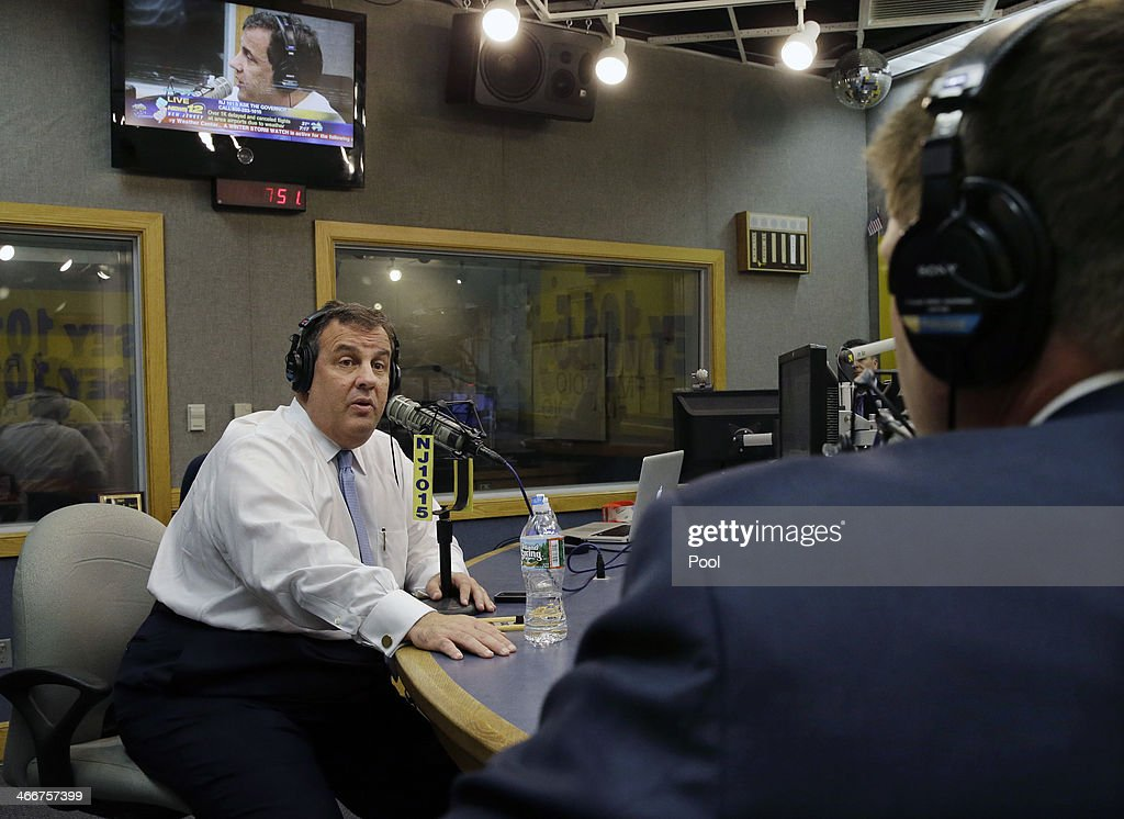 New Jersey Gov. <a gi-track='captionPersonalityLinkClicked' href=/galleries/search?phrase=Chris+Christie&family=editorial&specificpeople=6480114 ng-click='$event.stopPropagation()'>Chris Christie</a> answers questions during his radio program 'Ask the Governor' on February 3, 2014, in Ewing, New Jersey. During the program, Christie took questions from callers for the first time in more than three weeks amid claims that a political vendetta was the cause of lane closures on the New Jersey side of the George Washington Bridge that snarled traffic for days.