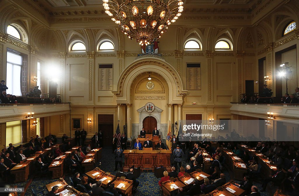 New Jersey Gov Chris Christie delivers his budget address for fiscal year 2015 to the Legislature February 25 2014 at the Statehouse in Trenton New...