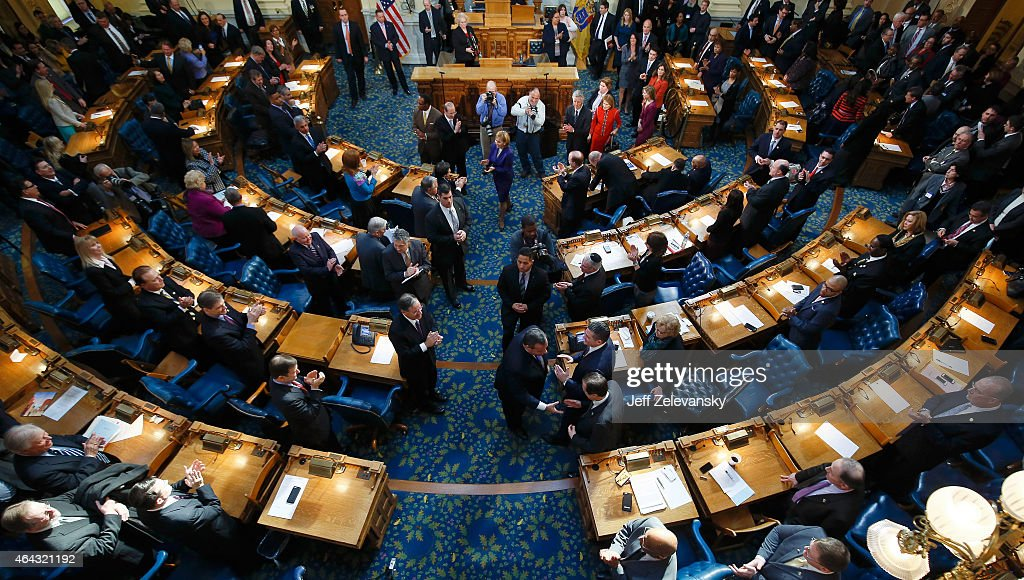 New Jersey Gov Chris Christie departs the chamber after delivering his budget address for fiscal year 2016 to the Legislature February 24 2015 at the...