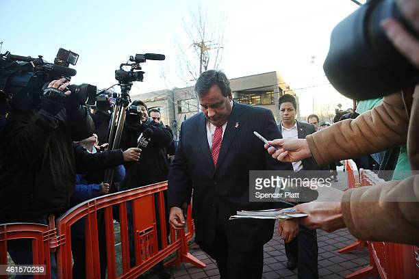 New Jersey Gov Chris Christie enters the Borough Hall in Fort Lee to apologize to Mayor Mark Sokolich on January 9 2014 in Fort Lee New Jersey...