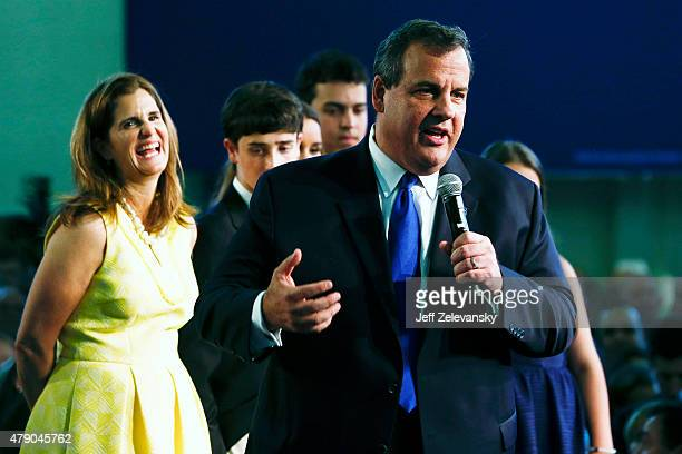New Jersey Gov Chris Christie joined by his family announces his candidacy for the Republican presidential nomination at Livingston High School on...