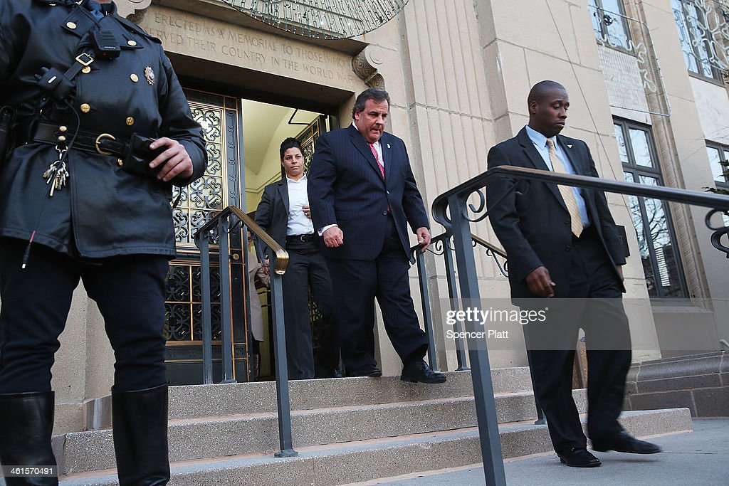 New Jersey Gov. <a gi-track='captionPersonalityLinkClicked' href=/galleries/search?phrase=Chris+Christie&family=editorial&specificpeople=6480114 ng-click='$event.stopPropagation()'>Chris Christie</a> leaves the Borough Hall in Fort Lee where he apologized to Mayor Mayor Mark Sokolich on January 9, 2014 in Fort Lee, New Jersey. According to reports Christie's Deputy Chief of Staff Bridget Anne Kelly is accused of giving a signal to the Port Authority of New York and New Jersey to close lanes on the George Washington Bridge, allegedly as punishment for the Fort Lee, New Jersey mayor not endorsing the Governor during the election.