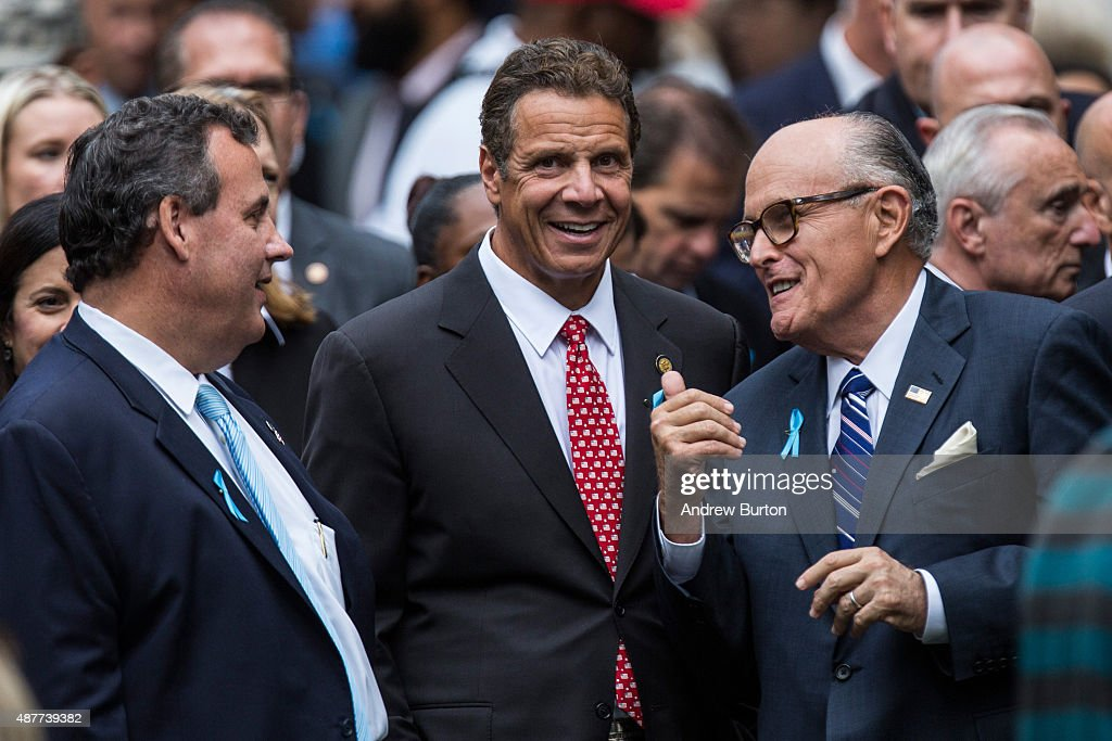 New Jersey Gov Chris Christie New York Gov Andrew Cuomo and former New York City Mayor Rudy Giuliani attend the anniversary ceremony commemorating...