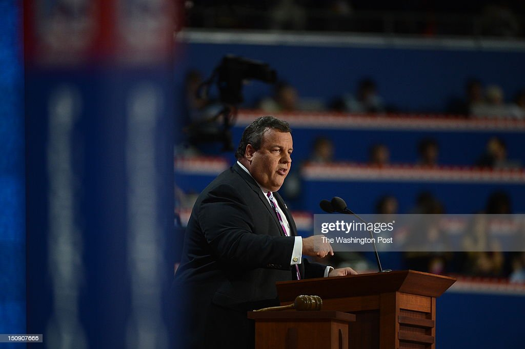 New Jersey Gov. Chris Christie (R), RNC keynote speaker addresses the 2012 Republican National Convention at the Tampa Bay Times Forum on August 28, 2012 in Tampa, Florida.