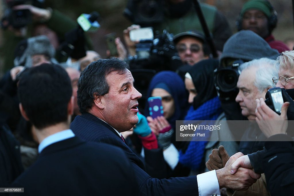 New Jersey Gov. Chris Christie shakes hands with residents after leaving the Borough Hall in Fort Lee where he apologized to Mayor Mayor Mark Sokolich on January 9, 2014 in Fort Lee, New Jersey. According to reports Christie's Deputy Chief of Staff Bridget Anne Kelly is accused of giving a signal to the Port Authority of New York and New Jersey to close lanes on the George Washington Bridge, allegedly as punishment for the Fort Lee, New Jersey mayor not endorsing the Governor during the election.