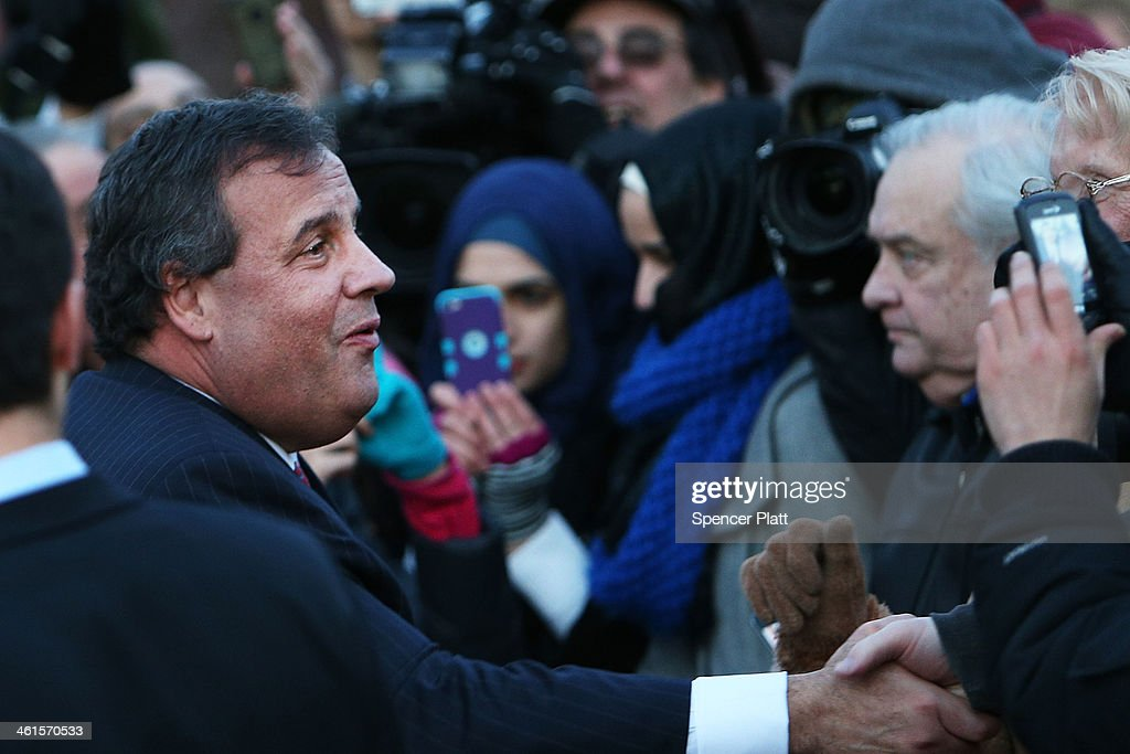 New Jersey Gov. <a gi-track='captionPersonalityLinkClicked' href=/galleries/search?phrase=Chris+Christie&family=editorial&specificpeople=6480114 ng-click='$event.stopPropagation()'>Chris Christie</a> shakes hands with residents after leaving the Borough Hall in Fort Lee where he apologized to Mayor Mayor Mark Sokolich on January 9, 2014 in Fort Lee, New Jersey. According to reports Christie's Deputy Chief of Staff Bridget Anne Kelly is accused of giving a signal to the Port Authority of New York and New Jersey to close lanes on the George Washington Bridge, allegedly as punishment for the Fort Lee, New Jersey mayor not endorsing the Governor during the election.