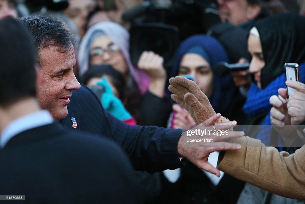New Jersey Gov. <a gi-track='captionPersonalityLinkClicked' href=/galleries/search?phrase=Chris+Christie&family=editorial&specificpeople=6480114 ng-click='$event.stopPropagation()'>Chris Christie</a> shakes hands with residents after leaving the Borough Hall in Fort Lee where he apologized to Mayor Mark Sokolich on January 9, 2014 in Fort Lee, New Jersey. According to reports Christie's Deputy Chief of Staff Bridget Anne Kelly is accused of giving a signal to the Port Authority of New York and New Jersey to close lanes on the George Washington Bridge, allegedly as punishment for the Fort Lee, New Jersey mayor not endorsing the Governor during the election.