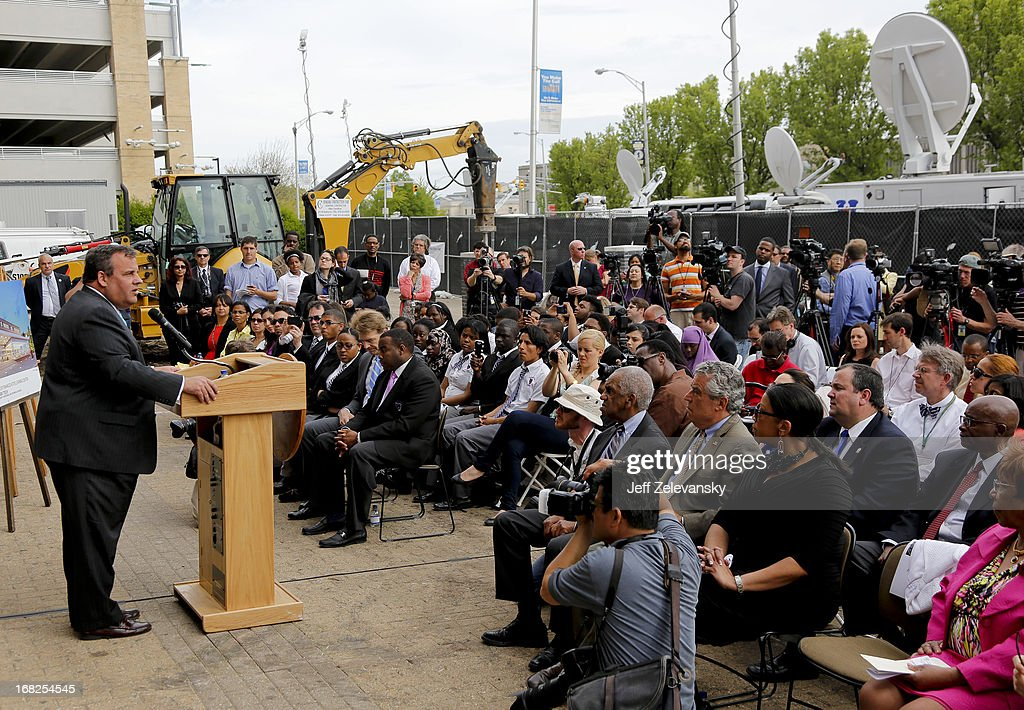 New Jersey Gov. <a gi-track='captionPersonalityLinkClicked' href=/galleries/search?phrase=Chris+Christie&family=editorial&specificpeople=6480114 ng-click='$event.stopPropagation()'>Chris Christie</a> speaks at a groundbreaking ceremony at Essex County Community College on May 7, 2013 in Newark, New Jersey. Christie recently disclosed that he underwent a surgical procedure for weight loss in February 2013.