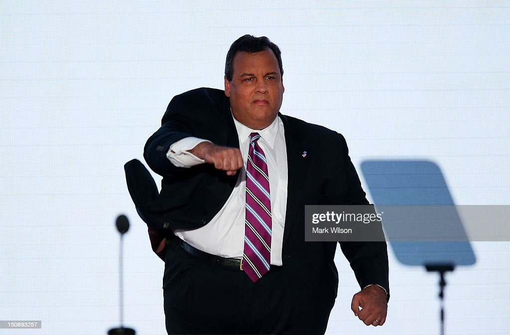New Jersey Gov. <a gi-track='captionPersonalityLinkClicked' href=/galleries/search?phrase=Chris+Christie&family=editorial&specificpeople=6480114 ng-click='$event.stopPropagation()'>Chris Christie</a> takes the stage to deliver the keynote address during the Republican National Convention at the Tampa Bay Times Forum on August 28, 2012 in Tampa, Florida. Today is the first full session of the RNC after the start was delayed due to Tropical Storm Isaac.