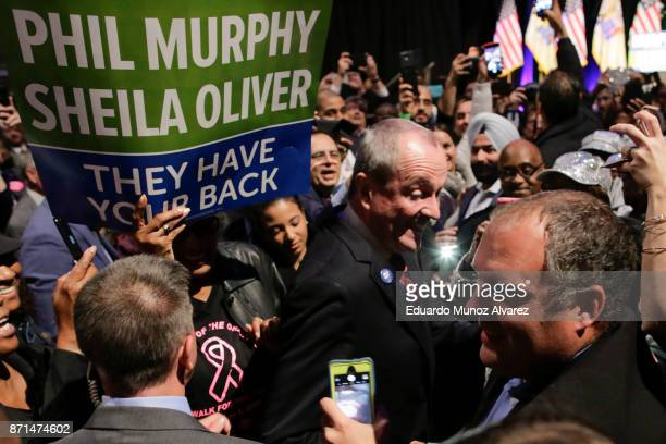 New Jersey Govelect Phil Murphy arrives for an election night rally on November 7 2017 in Asbury Park New Jersey Murphy was projected an early winner...