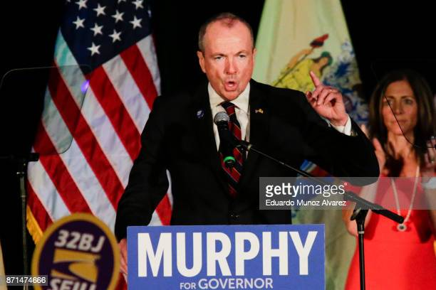 New Jersey Govelect Phil Murphy speaks at an election night rally on November 7 2017 in Asbury Park New Jersey Murphy was projected an early winner...