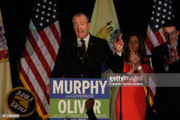 New Jersey Govelect Phil Murphy speaks to attendees at an election night rally on November 7 2017 in Asbury Park New Jersey Murphy was projected an...