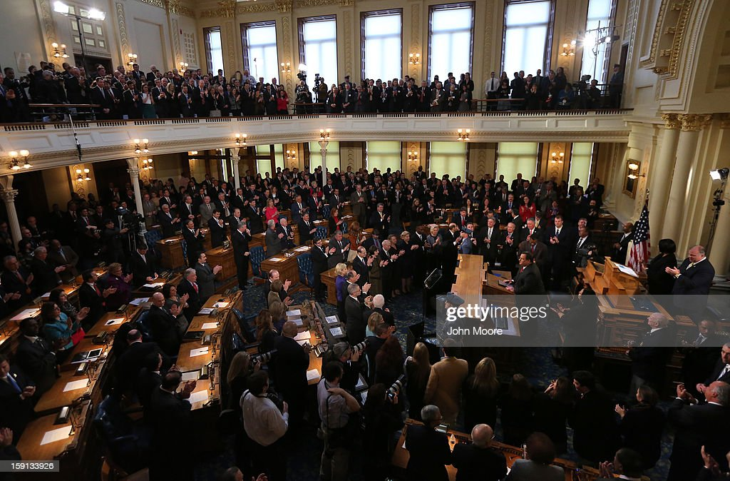 New Jersey Governor Chris Christie addresses state legislators during his State of the State Address on January 8 2013 in Trenton New Jersey The...