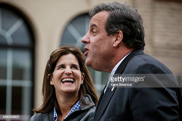 New Jersey Governor Chris Christie and his wife Mary Pat attend an event in Belmar two years after Hurricane Sandy on October 29 2014 in Belmar New...