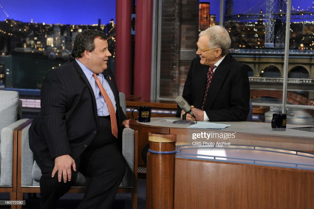 New Jersey Governor Chris Christie laughs with David Letterman when the governor makes his first visit to CBS' 'Late Show with David Letterman,' Monday, Feb. 4.