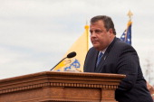 New Jersey Governor Chris Christie speaks at the memorial dedication to the Empty Sky Memorial at Liberty State Park on September 10 2011 in Jersey...
