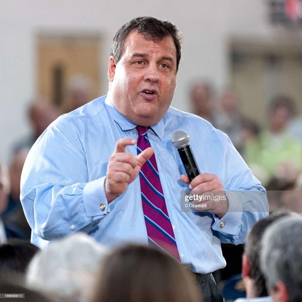 New Jersey Governor <a gi-track='captionPersonalityLinkClicked' href=/galleries/search?phrase=Chris+Christie&family=editorial&specificpeople=6480114 ng-click='$event.stopPropagation()'>Chris Christie</a> speaks during his 100th Town Hall Meeting at St. Mary's Parish Center on January 16, 2013 in Manahawkin, New Jersey.