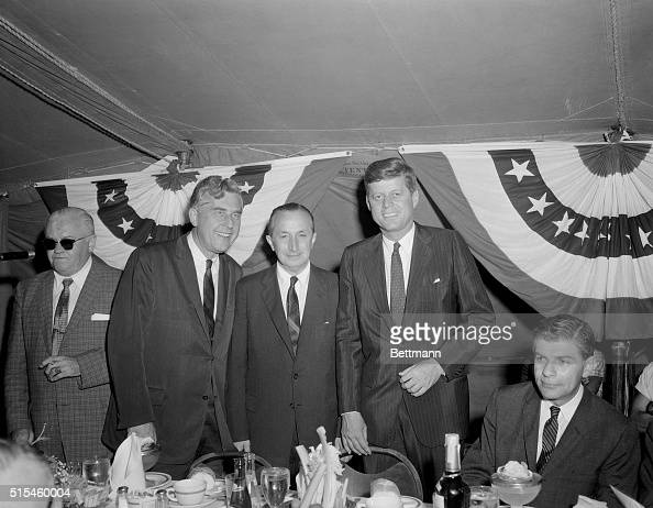 New Jersey Governor Robert B Meyner Democratic Party Chairman David Wilentz and Senator John F Kennedy at the Annual Essex County Governor's Day